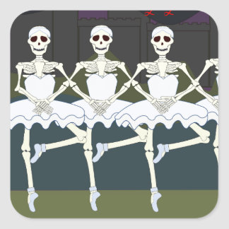 Skeleton Ballerinas Square Sticker
