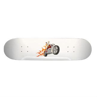 Skeleton Bike Rider With Flames Skateboard
