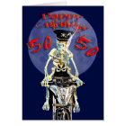 Skeleton biker 50th birthday card
