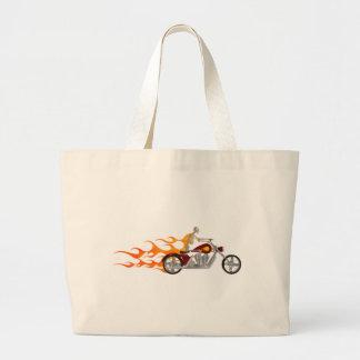 Skeleton Biker & Flames: Tote Bags