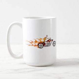 Skeleton Biker & Flames: Basic White Mug