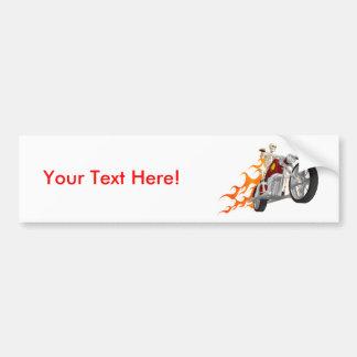 Skeleton Biker & Flames: Bumper Sticker