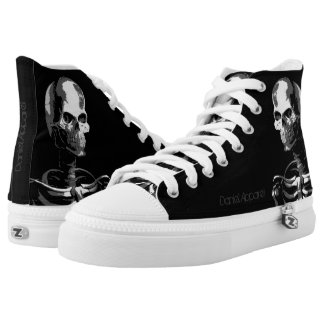 Skeleton black and white printed shoes