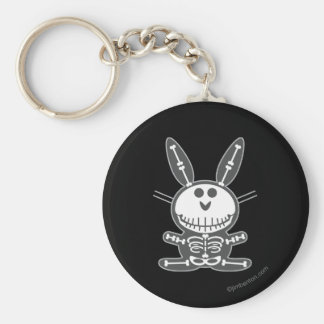 Skeleton Bunny Basic Round Button Key Ring