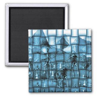 Skeleton Chess Square Magnet