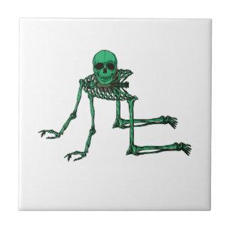 Skeleton Creepy Yoga Skull Dancing Ceramic Tile