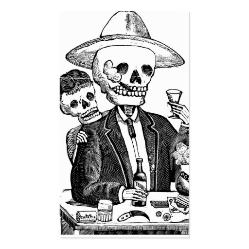 Skeleton Drinking Tequila and Smoking, Mexico Business Card Template