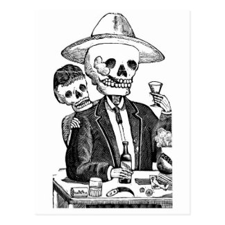 Skeleton Drinking Tequila and Smoking, Mexico Postcard