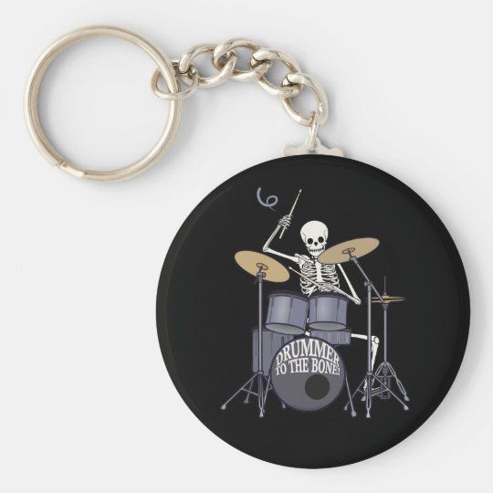 Skeleton Drummer Basic Round Button Key Ring