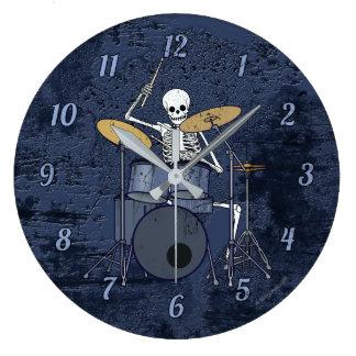 Skeleton Drummer Large Clock