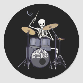 Skeleton Drummer Round Sticker