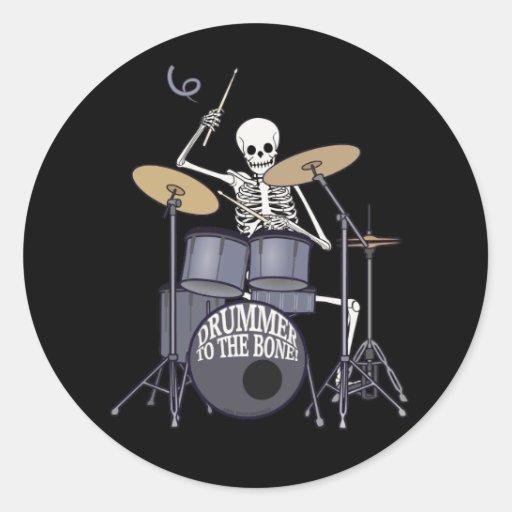 Skeleton Drummer Round Stickers
