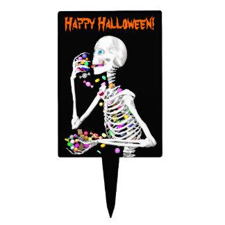 Skeleton Eating Halloween Candy Cake Picks