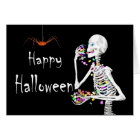 Skeleton Eating Halloween Candy Card