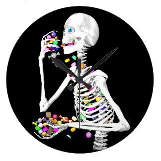 Skeleton Eating Halloween Candy Clock
