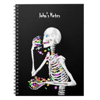 Skeleton Eating Halloween Candy Notebook