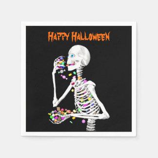 Skeleton Eating Halloween Candy Paper Napkin