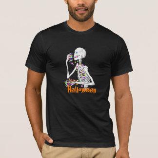 Skeleton Eating Halloween Candy T-Shirt