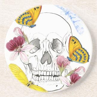 Skeleton Flowers Beverage Coaster