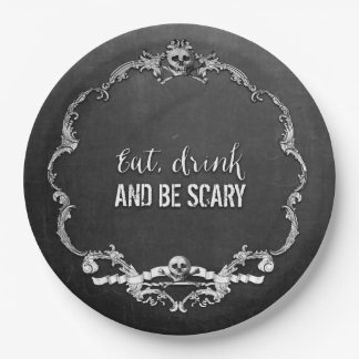 Skeleton Glam Halloween Paper Plate
