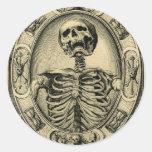 Skeleton, Goth, Mediaeval Round Stickers