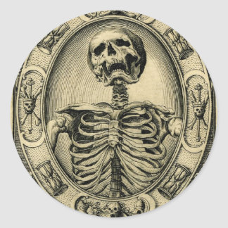 Skeleton, Goth, Medieval Classic Round Sticker