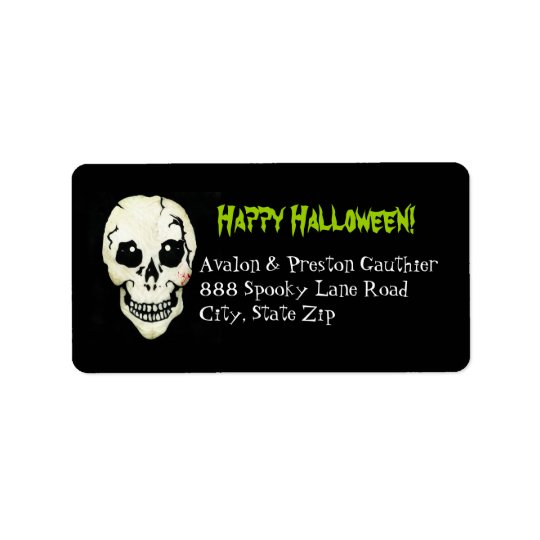 Skeleton Green Spooky Halloween Address Labels