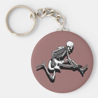Skeleton Guitarist Jump Basic Round Button Key Ring