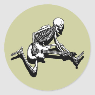 Skeleton Guitarist Jump Classic Round Sticker