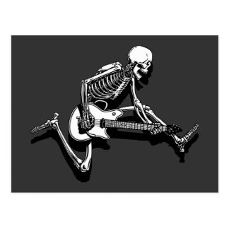 Skeleton Guitarist Jump Postcard