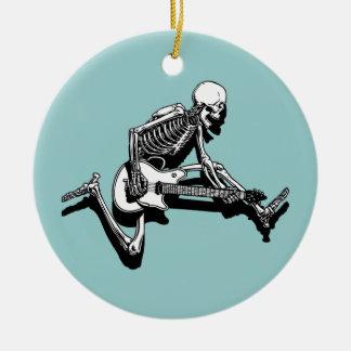 Skeleton Guitarist Jump Round Ceramic Decoration