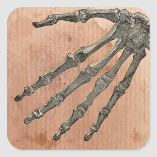 Skeleton Hand Square Sticker