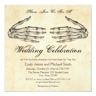 Skeleton Hands Gothic Wedding Invitation