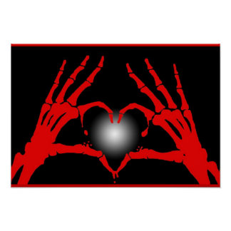 Skeleton Hands Red Heart Poster