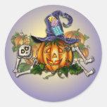 SKELETON, HAT & JACK by SHARON SHARPE Round Sticker