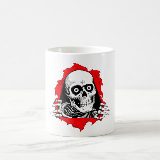 skeleton head out of the stomach basic white mug