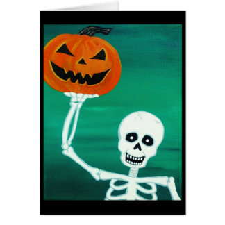 Skeleton holding Pumpkin Halloween Greeting Card