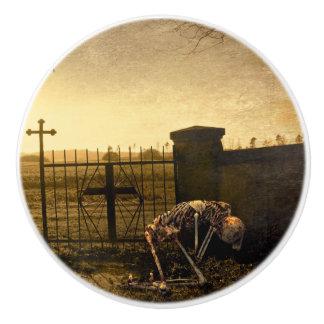 Skeleton in cemetery ceramic knob