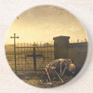Skeleton in cemetery coaster