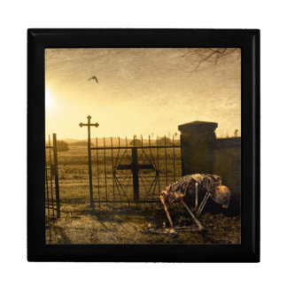 Skeleton in cemetery gift box