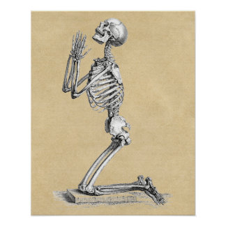 Skeleton in Prayer Poster