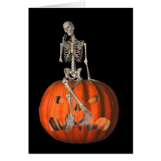Skeleton Jack O Lantern Halloween Note Card