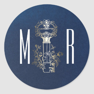 Skeleton Key Vintage Navy and Gold Monogram Round Sticker