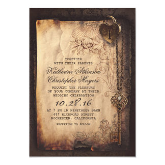 skeleton key vintage wedding invitations