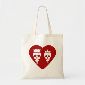 Skeleton king and queen of hearts tote bag