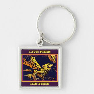 "SKELETON KING ""LIVE FREE, DIE FREE"" Silver-Colored SQUARE KEY RING"