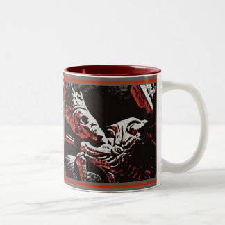 "SKELETON KING ""LIVE FREE, DIE FREE"" ROCK AND ROLL Two-Tone COFFEE MUG"