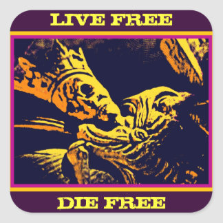 "SKELETON KING ""LIVE FREE, DIE FREE"" SQUARE STICKER"