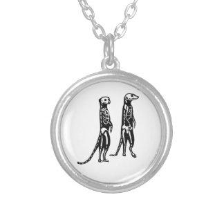 Skeleton Meerkat Silver Plated Necklace