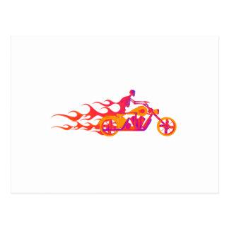 Skeleton on a Motorcycle Postcard
